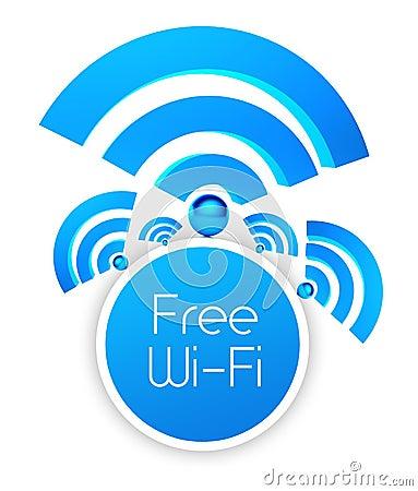 Free wifi icon, isolated white