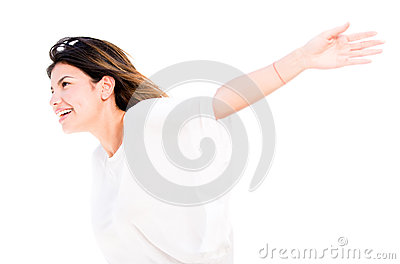 Free woman with arms open