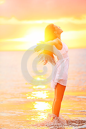 Free Free Woman Enjoying Freedom Feeling Happy At Beach Royalty Free Stock Image - 30765286
