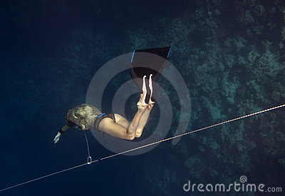 Freediver Goes Down By Line Stock Photos - Image: 10941833