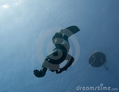 Freediver makes a safety dive