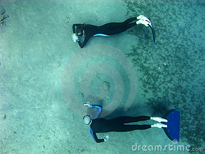 Freediving photosession at the bottom of Red Sea