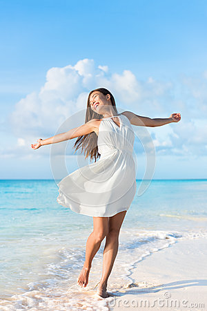 Free Freedom Beach Woman Feeling Free Dancing In Dress Stock Photo - 69750770