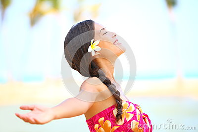 Freedom beach woman happy serene