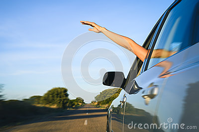Freedom and car vacation travel concept