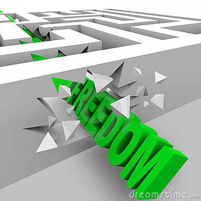 Freedom - Green Word Breaks Through Maze Walls