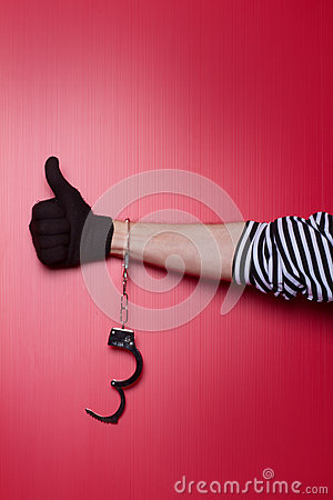 Free Freedom - Robber Hand With Unlocked Handcuffs On Hand Stock Images - 36384044