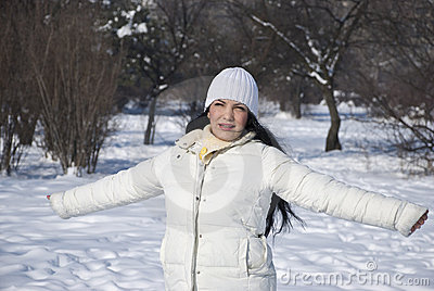 Freedom woman in winter season