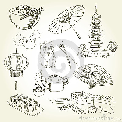 Free Freehand Drawing China Items Stock Images - 64327694