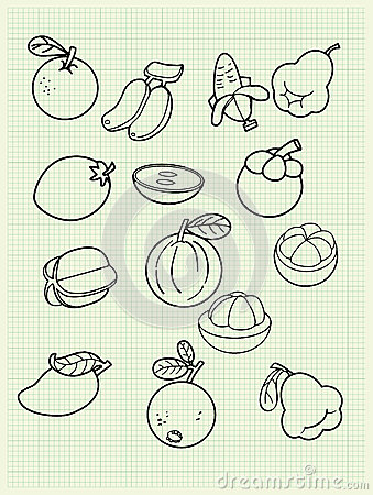 Freehand drawing fruit on paper.