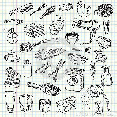 Free Freehand Drawing Hygiene And Cleaning Products Royalty Free Stock Photography - 36280917