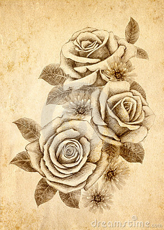 Free Freehand Drawing Rose 02 Stock Images - 19168744