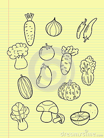Freehand drawing vegetables.