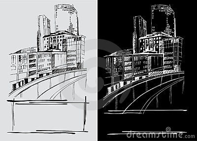 Freehand drawings of city