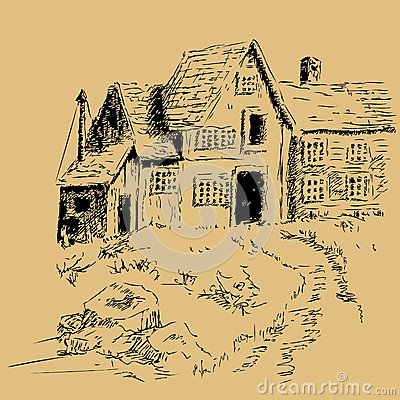Freehand pen and ink cottage house