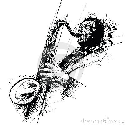 Free Freehanding Drawing Of A Jazz Saxophonist Stock Images - 6865434