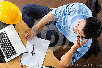 Architect working at home