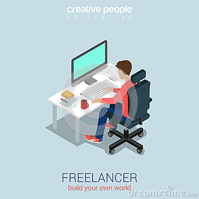 Freelancer at work flat 3d web isometric infographic for Build your own net dream