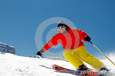 Freeride in fresh powder snow