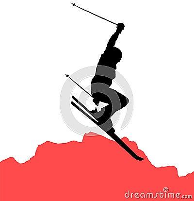 Freeride skier jumping