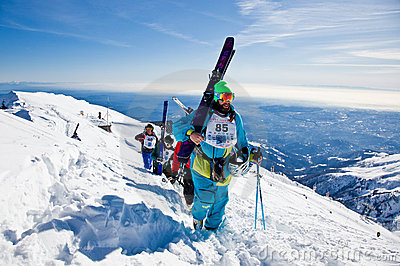 Freeride skiers Editorial Stock Image