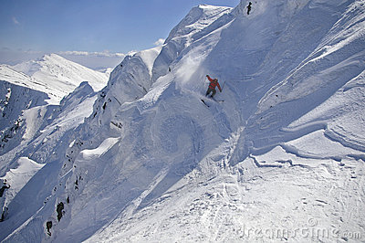 Freeride skiing in high mountains