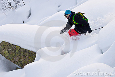 Freerider skiing in Siberia