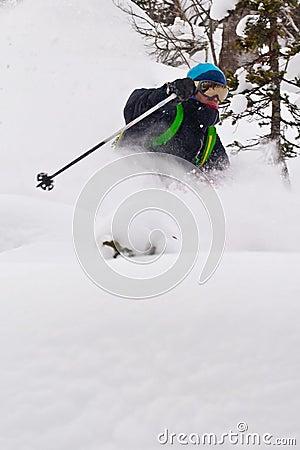 Freerider skiing in Siberia