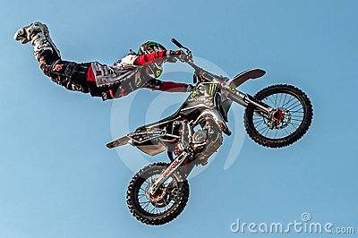 Freestyle motocross - high jump Editorial Stock Photo