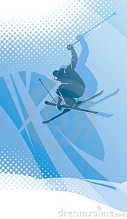 Freestyle skier in abstract winter background