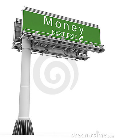 Free Freeway Exit Sign Money Royalty Free Stock Image - 7480946
