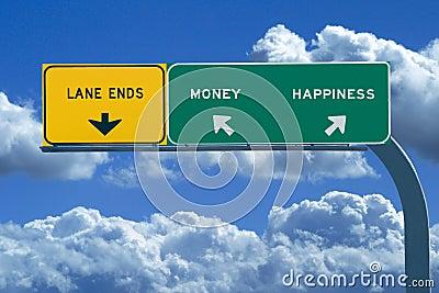 Freeway sign Money/Happiness