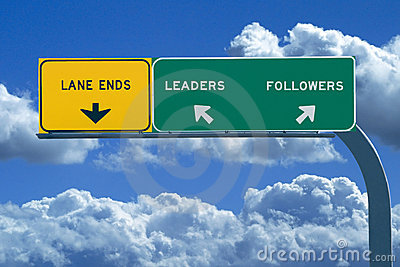 Freeway Sign Reading Leaders and Followers