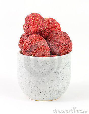 Freeze dried strawberries in small dish