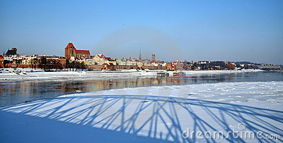 Freeze river in Torun, Poland
