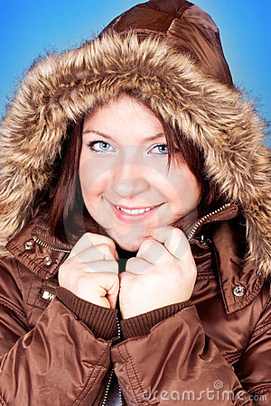 Freezing girl in jacket