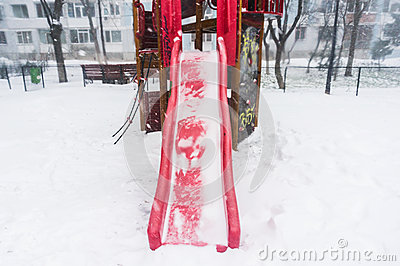 Freezing playground slide