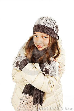 Freezing Teenage Girl Stock Photo - Image: 22865390