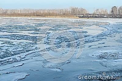 Freezing water.