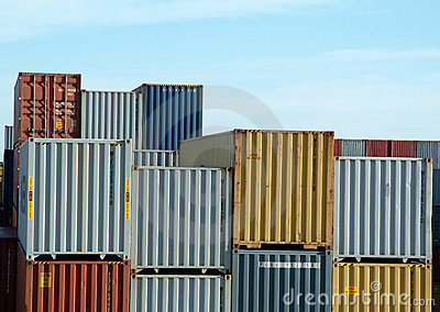 Freight containers on docks
