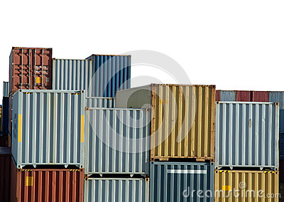 Freight containers on harbor