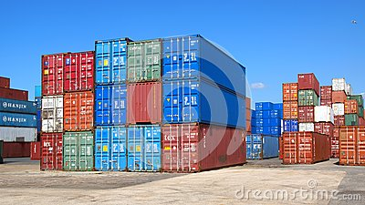 Freight containers in the Le Havre port. Editorial Stock Image