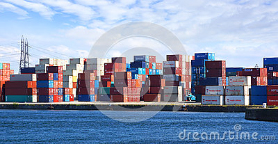 Freight containers in the Le Havre port. Editorial Stock Photo