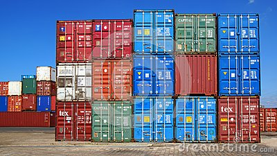 Freight containers in the Le Havre port. Editorial Image