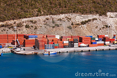 Freight Containers on a Seaside Dock