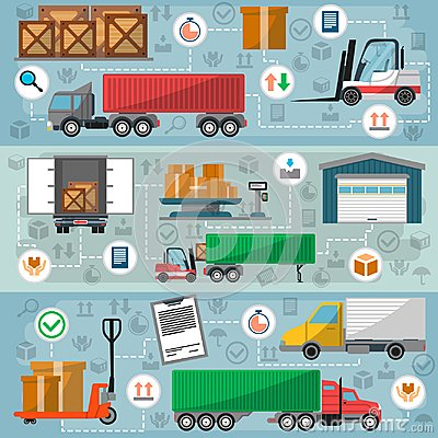 Free Freight Road Trucking Logistics And Management Set Royalty Free Stock Photo - 107105745