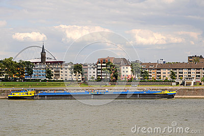 Freight ship on Rhine River,  Cologne Germany Editorial Photo