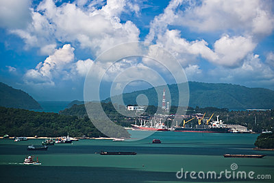 Freight ships at Phuket island in Thailand Editorial Stock Photo