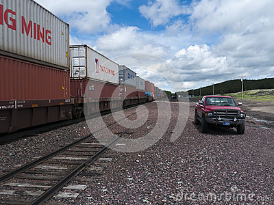 Freight train with containers Editorial Image