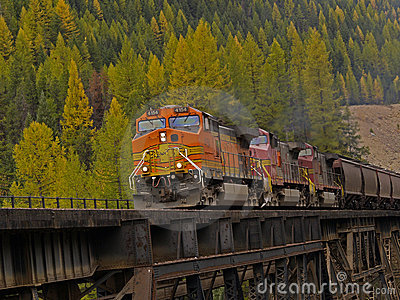 Freight Train Crossing Trestle